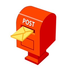 icon postbox and letter vector image vector image