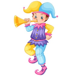 Jester blowing golden trumpet vector image