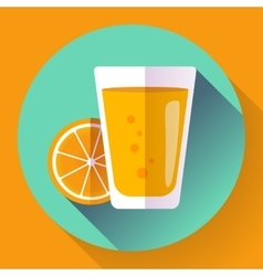Juice glass Flat designed style icon vector image vector image