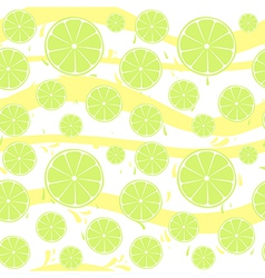 Lime slices seamless pattern splash vector image