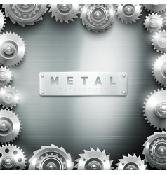 Metal cogwheel frame design background vector