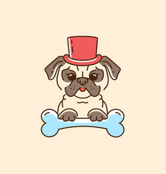 Pug gentleman cartoon pug-dog in the hat and with vector