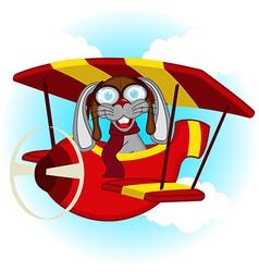 rabbit flying on plane vector image vector image