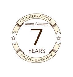 realistic seven years anniversary celebration logo vector image vector image