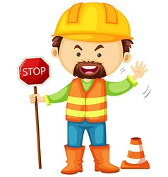 Road worker holding stop sign vector image vector image
