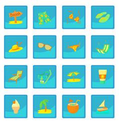 Sea rest icon blue app vector