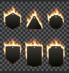 set of six horizontal frames surrounded with flame vector image vector image