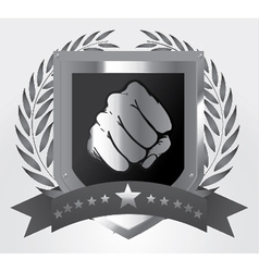 shield with fist vector image