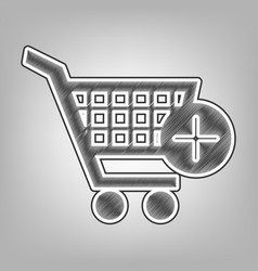 Shopping cart with add mark sign pencil vector