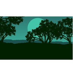 silhouette of tree at night landscape vector image