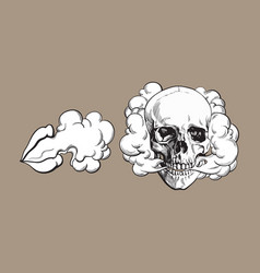 smoke coming out of skull and lips vector image