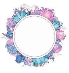 Tender Pink and Blue Floral Frame vector image vector image