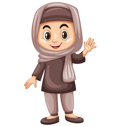Turkish kid waving hand vector