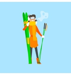 Woman Holding Skis and wearing Goggles vector image