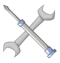 Wrench and screwdriver icon cartoon style vector image