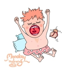 Yawning man Monday morning concept vector image