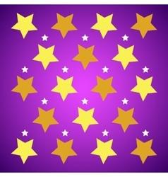 Yellow stars on purple background vector image vector image