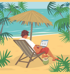 young man working on laptop on tropical beach vector image
