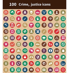 100 crime justice icons vector image vector image