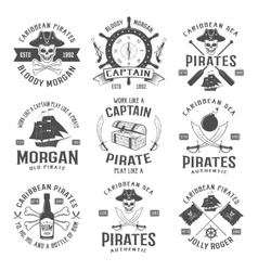 Sea robbers monochrome emblems vector