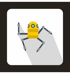 Robot spider icon flat style vector