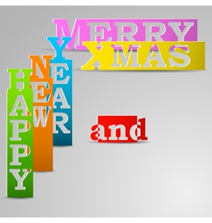 Happy new year and merry xmas paper strips vector