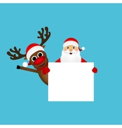 Santa Claus and reindeer with a blank vector image