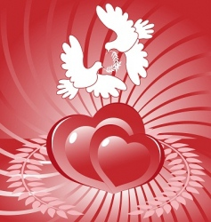 hearts and white dove vector image