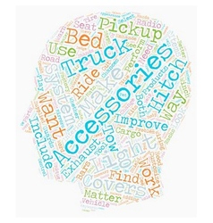 Pickup truck accessories text background wordcloud vector