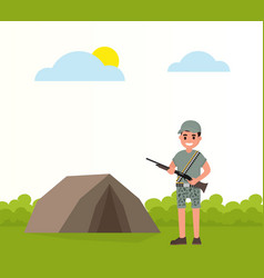happy hunter stands near the tent stand with vector image
