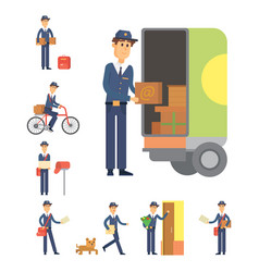 Postman delivery man character courier vector