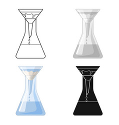 filtration of water solution in a conical flask vector image