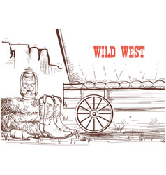 Wild west hand draw background with cowboy boots vector