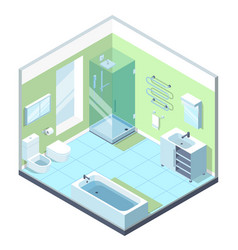 Bathroom interior with different furniture vector