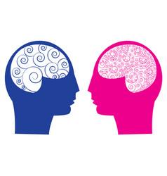 Abstract male vs female brain vector