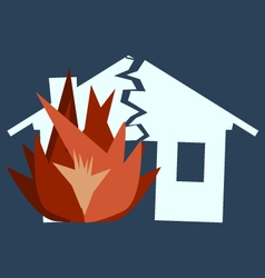 Fire damage silhouette of broken house as of disas vector