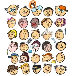 cartoon peoples faces vector image