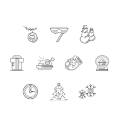 Xmas party accessories flat line icons set vector image