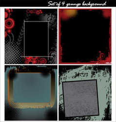 Set of 4 grunge background vector