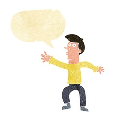 Cartoon reaching man with speech bubble vector