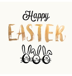Happy easter cards with easter eggs easter bunny vector