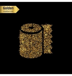 Gold glitter icon of toilet isolated on vector