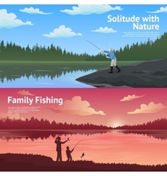 Family fishing horizontal banners set vector
