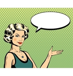 Woman with speech bubble in retro pop art style vector