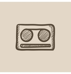 Cassette tape sketch icon vector