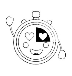 Chronometer with heart eyes kawaii icon image vector