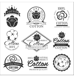 Cotton badges design organic product vector