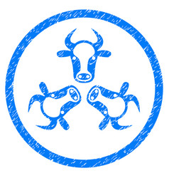 Cow trinity rounded grainy icon vector