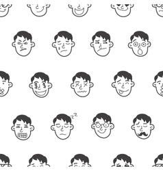 cute doodle boy heads seamless pattern vector image vector image