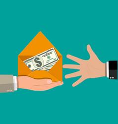 dollar cash in envelope in hand vector image